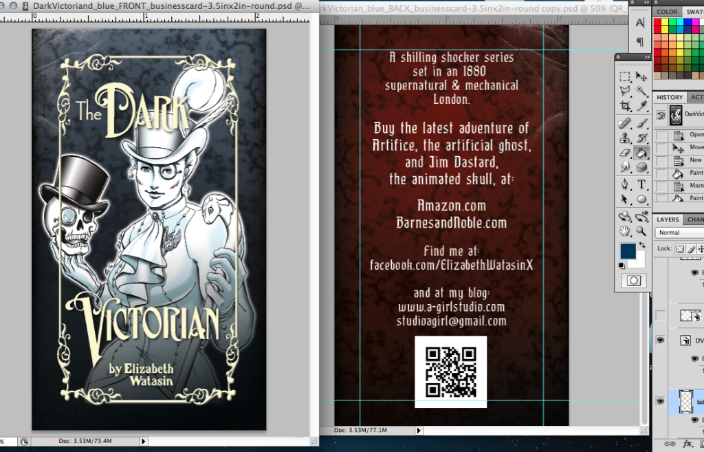 More Dark Victorian promo cards, Blue version.