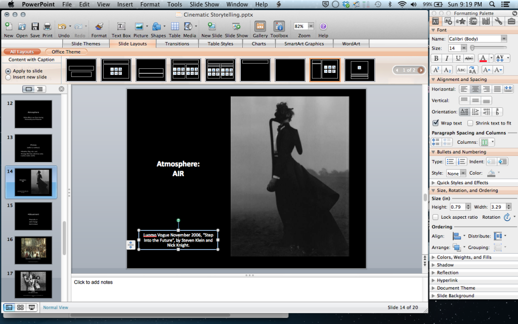 Cinematic Storytelling in STeampunk presentation, in progress!